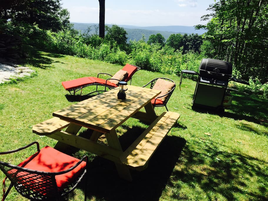 Outdoor dining with a 50 mile view. Best grill from Consumer Reports.