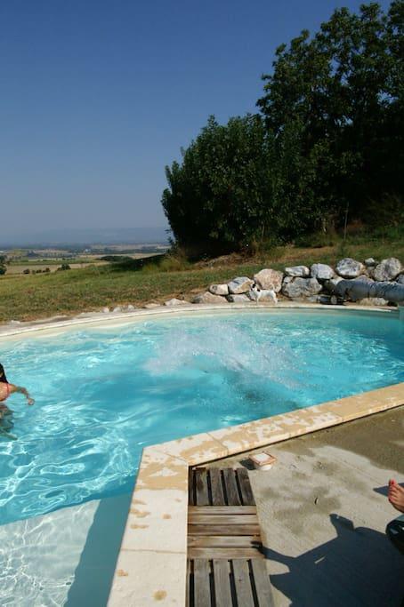 La piscine se situe à une vingtaine de mètres du gîte, permettant la sécurité des enfants et le calme des parents.