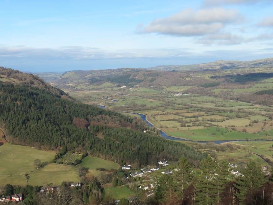 Above Trefriw looking down towards the sea