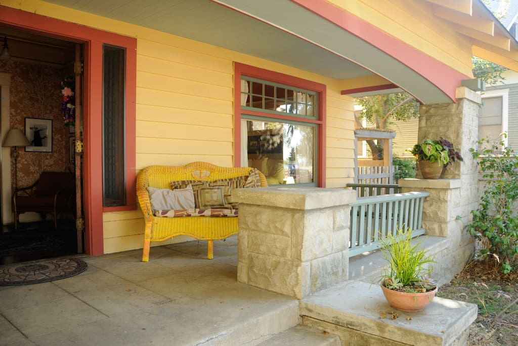 The front porch is a nice place to sit and watch the world go by, your room 1st door on the right.