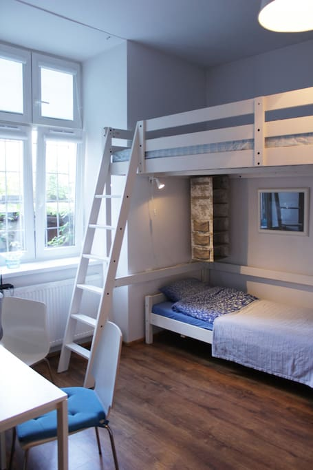 Aqua Marine room with a single bed and bunk bed with big mattress upstairs