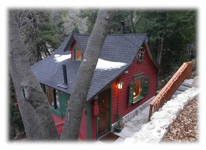 My lovely cabin seen from our street in Lake Arrowhead, California.  As you can see it seems miles away from civilization.
