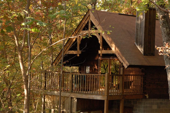 View through trees~ Hot Tub Cabin - Swimming