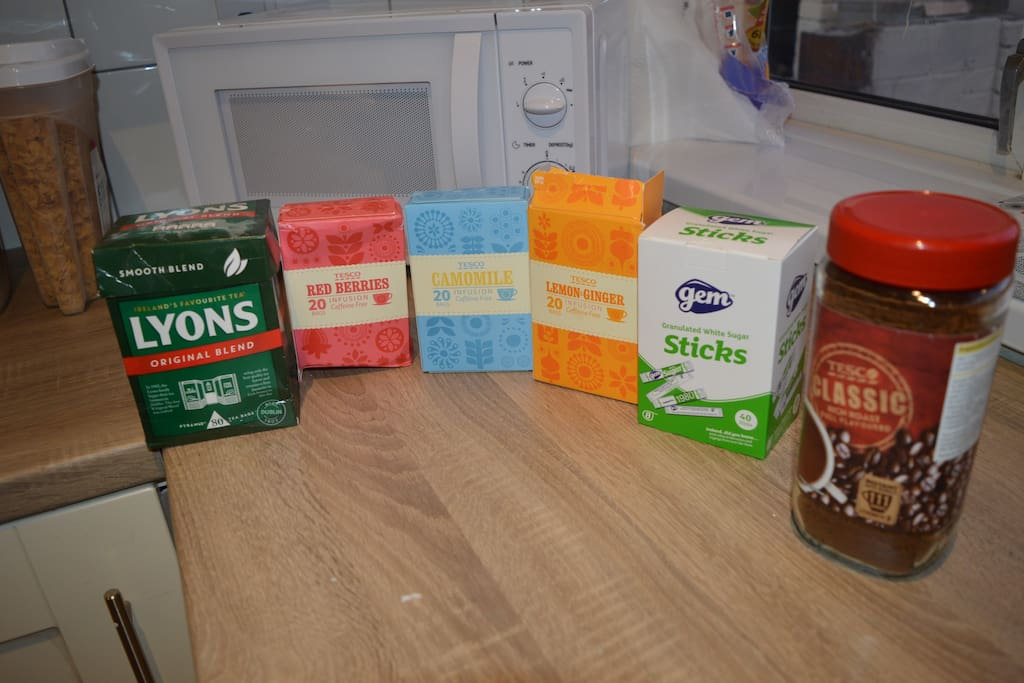 full selection of teas and coffee. help yourself to a basic breakfast in the morning