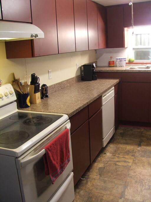 Galley style kitchen has microwave, dishwasher, side-by-side refridgerator, microwave, & elevated sink to decrease back-strain.  (and a step-ladder so the little ones can help).