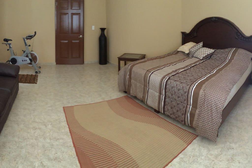 Guest room with king size bed and prívate bathroom. Recámara de visitas con cama king size y baño privado.