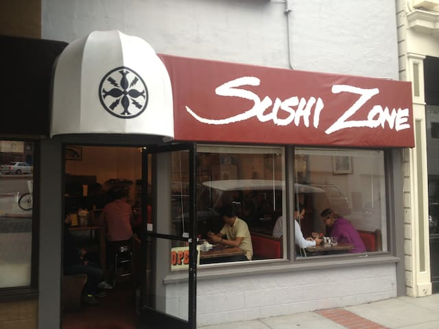 Very popular and highly rated sushi restaurant 1/2 block away