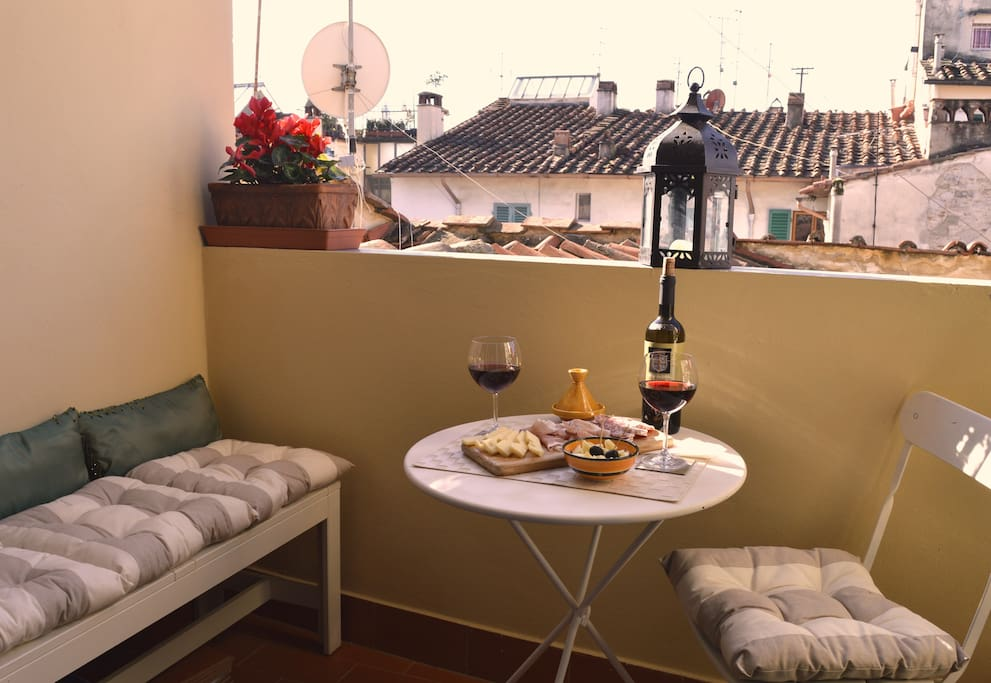 small furnished balcony