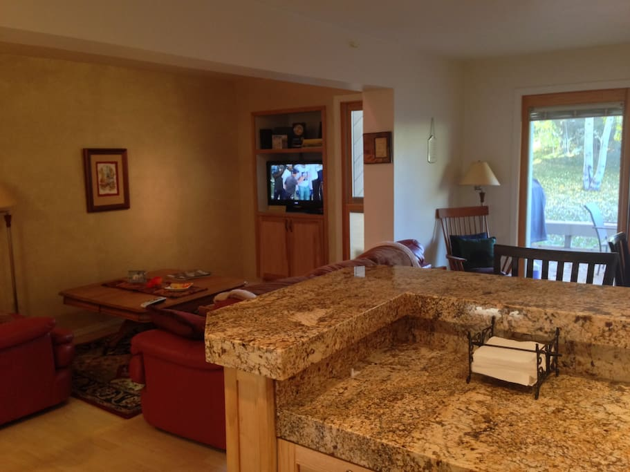 Granite counter tops and fully stocked kitchen