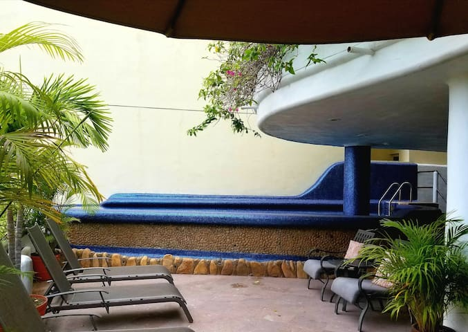 Pool Terrace is one level above the condo