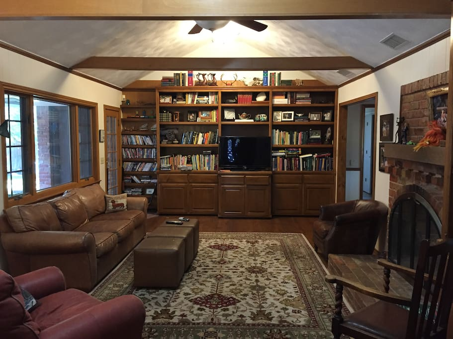 Den / Library with large fireplace