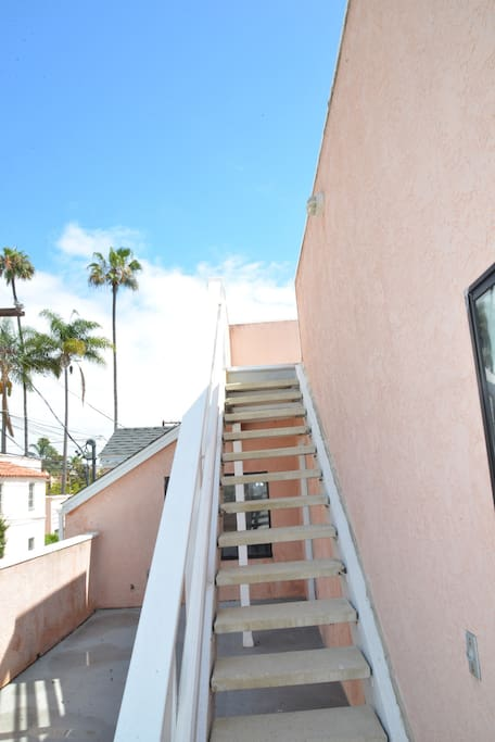 Stairs to the rooftop deck