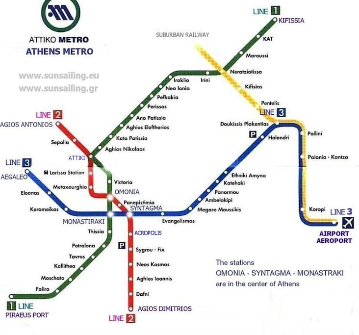 Kerameikos station blue line .one stop to monastiraki very very close to the center and acropoli museum