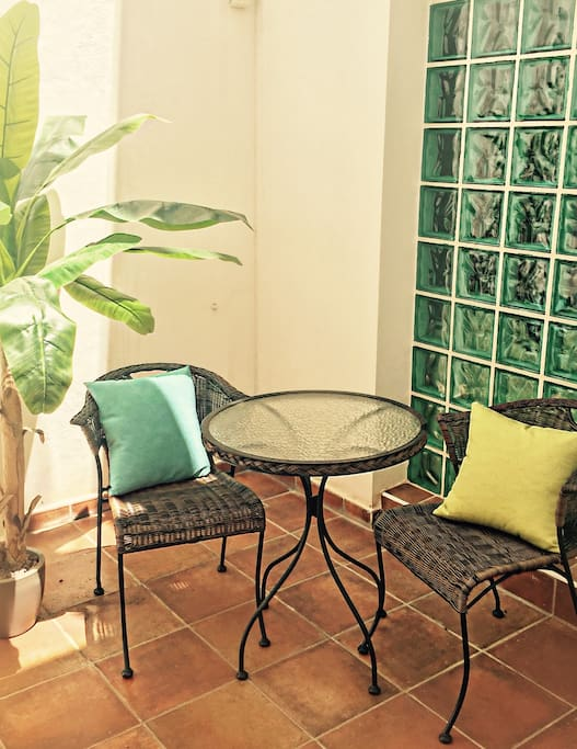 Open air patio in the middle of the apartment
