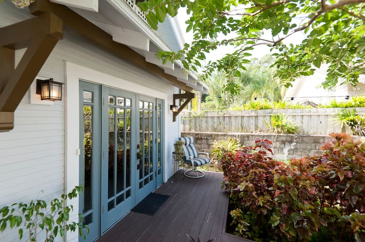 Large front French doors of guest house