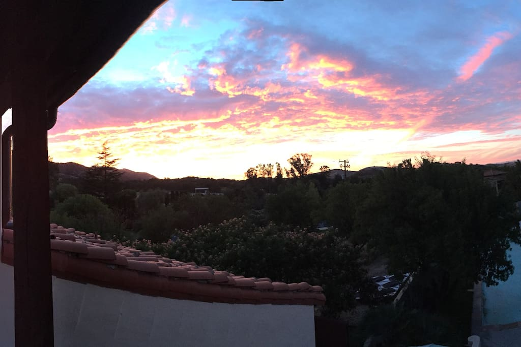 The beautiful sunset from one of the upstairs balconies