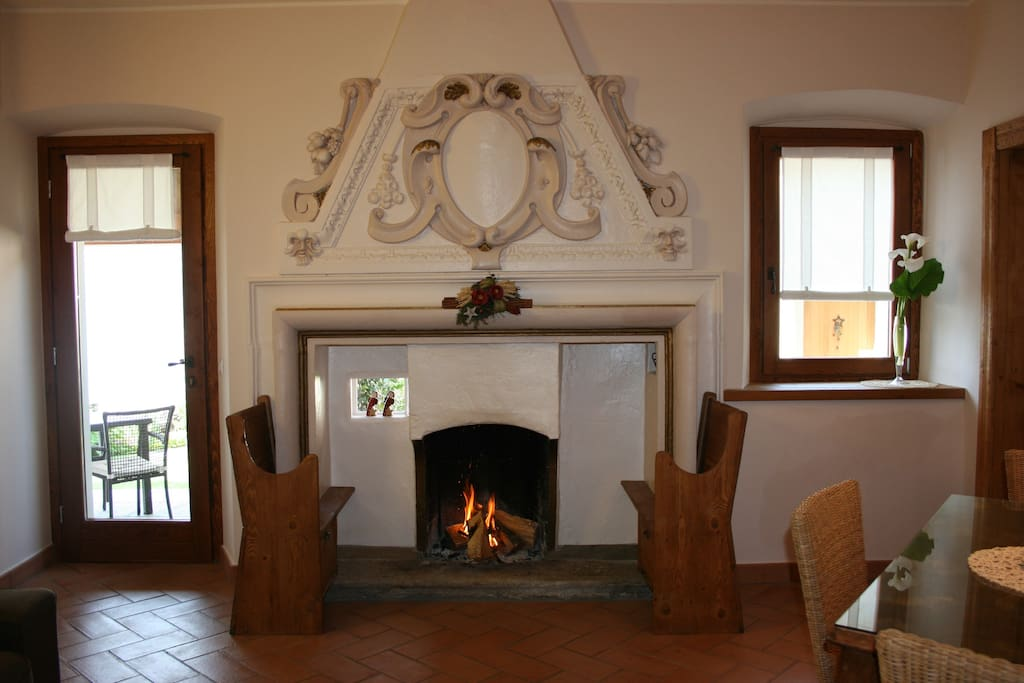 the fire place in the living room