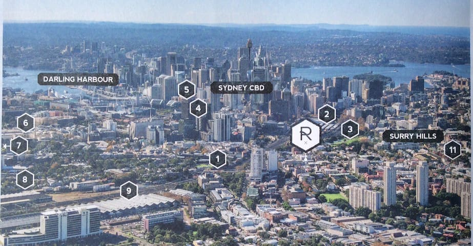 1: Redfern Railway 2: Central Railway 3: Prince Alfred Park 4: Central Park Shopping Centre 5: University of Technology Centre  9: Australian Technology Park. The city is on your doorstep.
