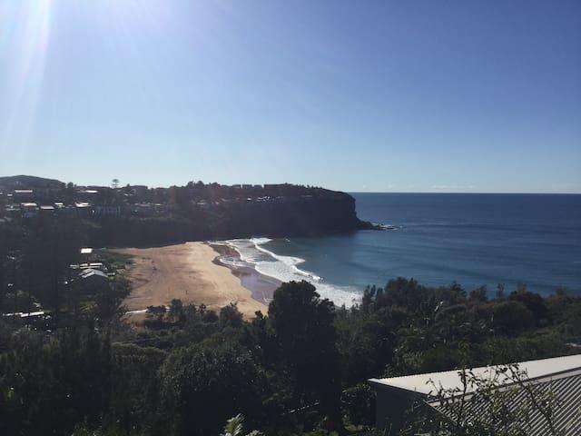 View of Bilgola Beach from main level deck.