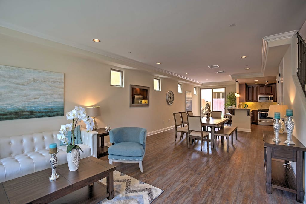 The interior features an open-concept floor plan, ideal for groups of up to 8!
