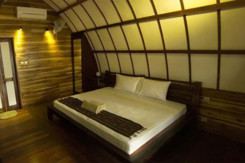 teak wood inside, king size bed, huge :)