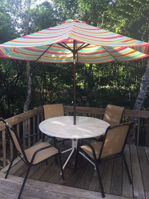 A shady spot perfect for early morning coffee or late night snacks to enjoy the sea breeze.