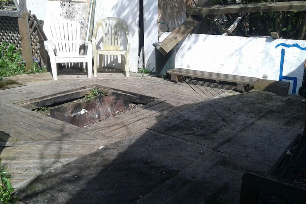 wood deck with fire pit
