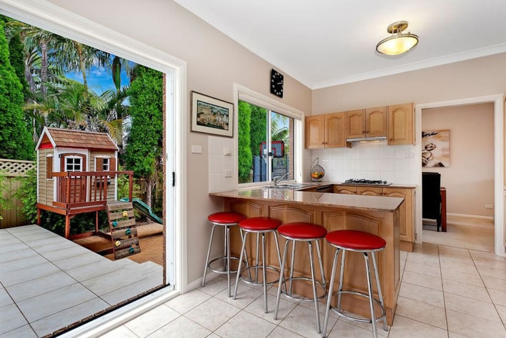 Kitchen opens up to the outdoor entertaining area