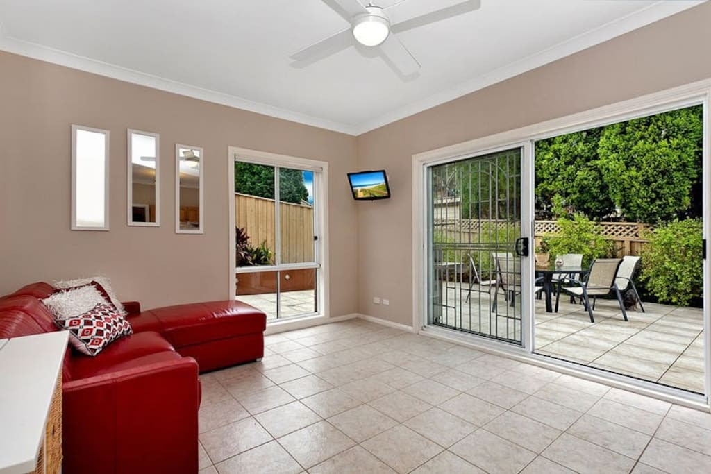 TV room with entertaining area