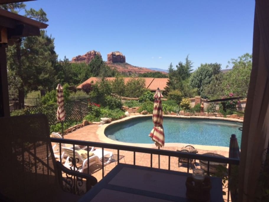 Salt water pool area with view of Cathedral Rock