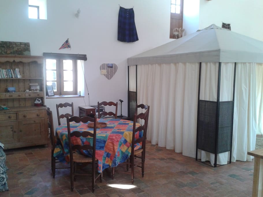 Dining area and tented bedroom