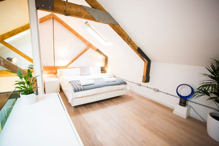 Huge mezzanine master bedroom with an incredibly comfy super king bed