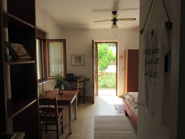 Studio, Esstisch, Arbeitsecke und Eingang