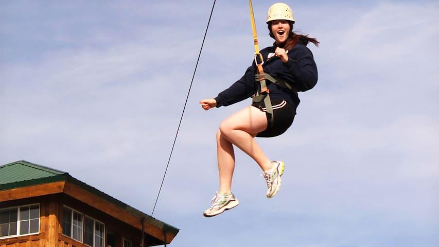 Ziplining located on Zion Ponderosa Resort by East Zion Adventures.