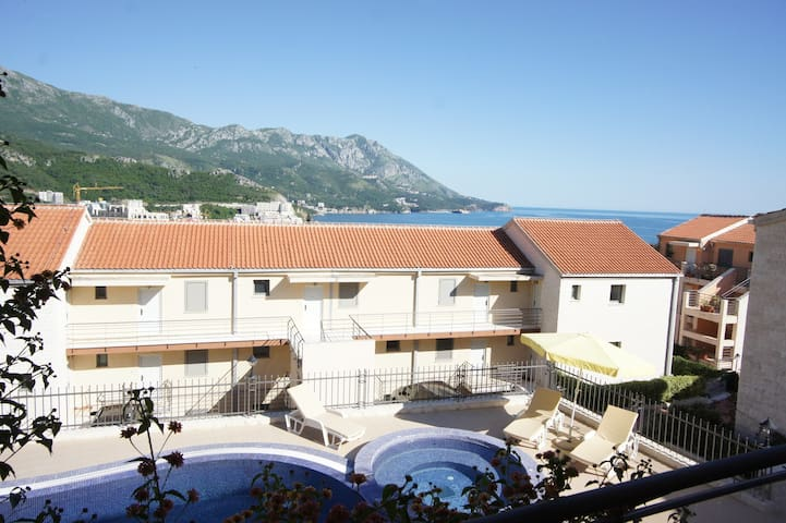Pool view two bedroom apartment in Becici Sunset