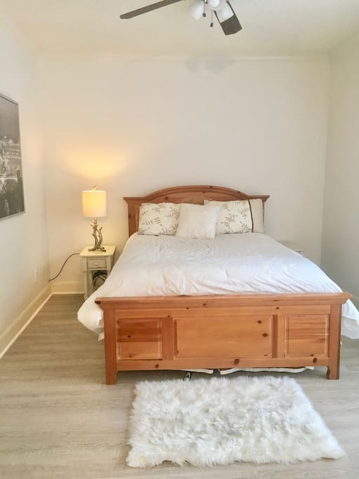 Master bedroom. Light-filled, simple, spacious. Dresser provided for your clothes.