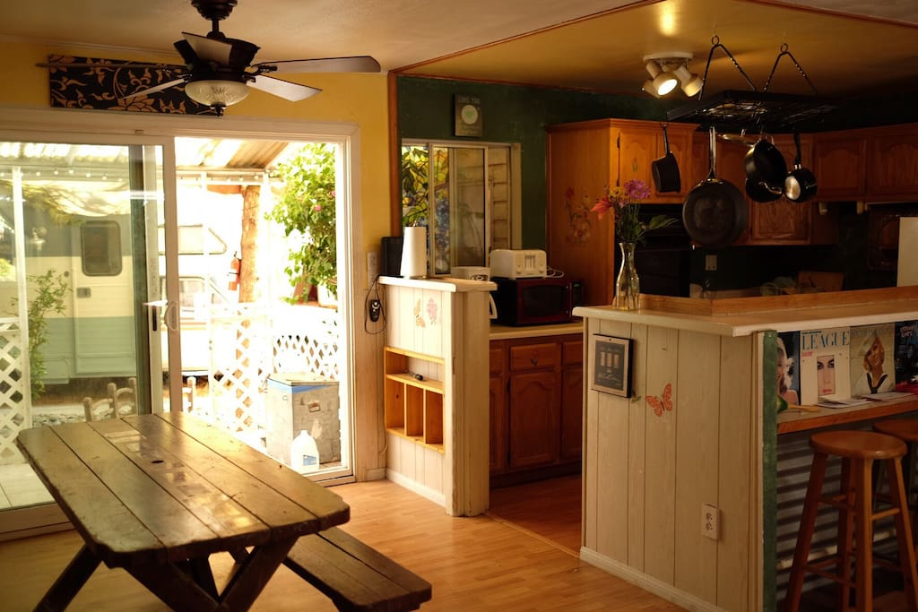 This is the kitchen and living area with lots of space for our guests to cook and hang out.