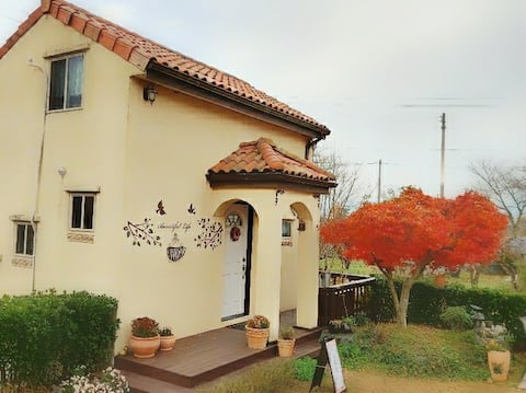 House with Persimmon field near Tamjin riverside
