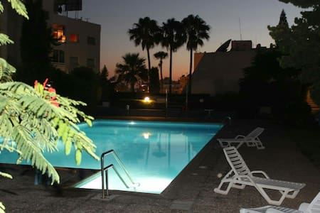 Sea & pool view flat near the beach - Agios Tychon