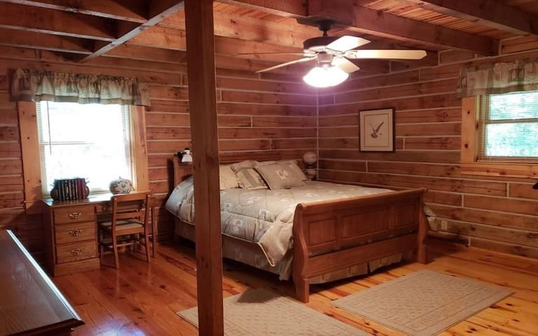 Master Bedroom with full bath, walk in closet and work space