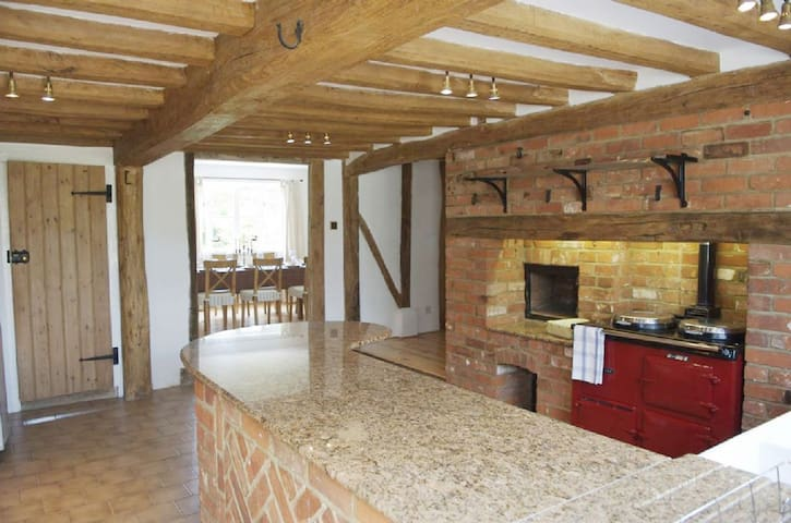 Kitchen with AGA leading onto dinning area