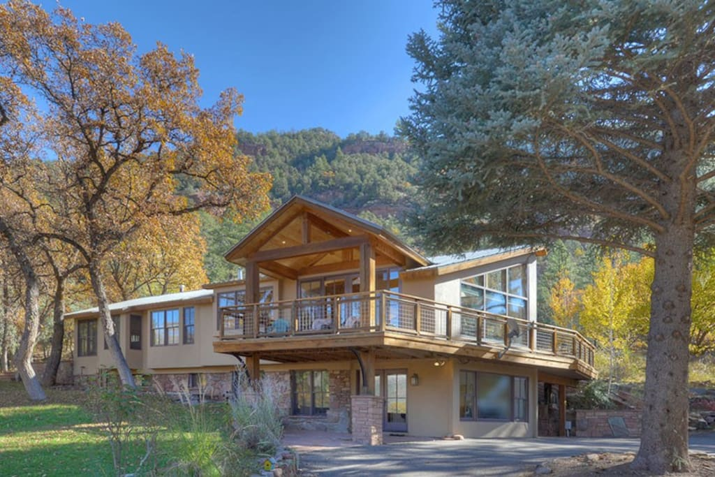 Front of House w Mountain Views and Private Yard at Durango Colorado Luxury Vacation Rental Home