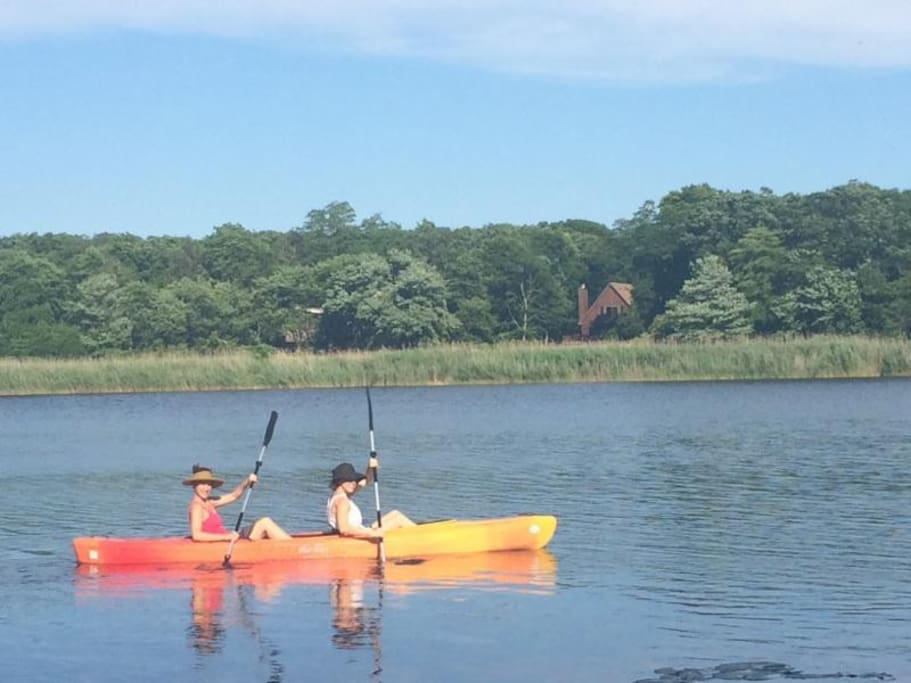 2 person kayak to use on the lake or Lond Island Sound. You can kayak from the backyard lake access!