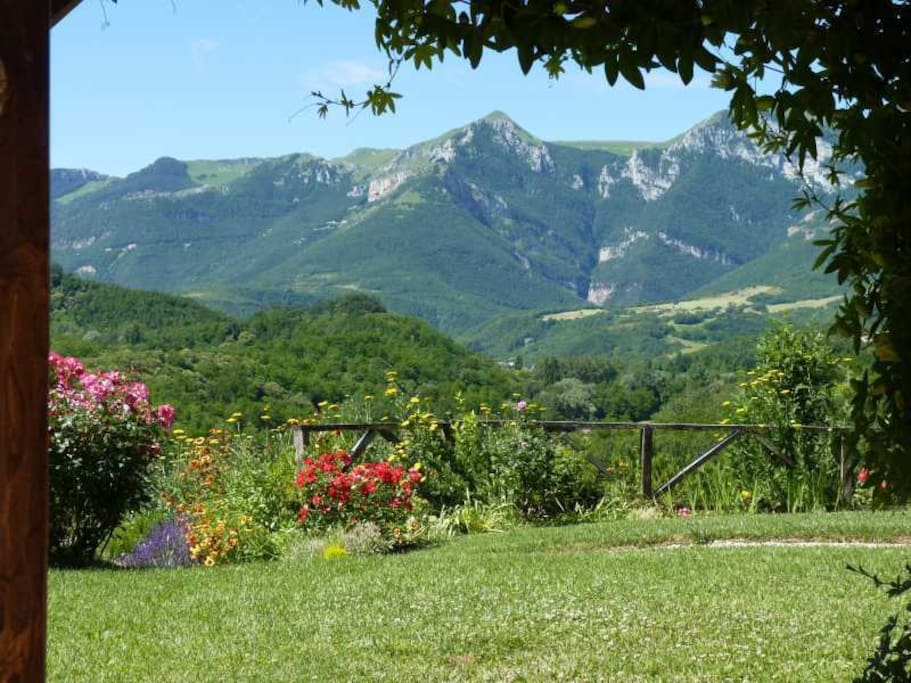 The view of the Sibillini Mountains from the loggia of apartment Rotondo