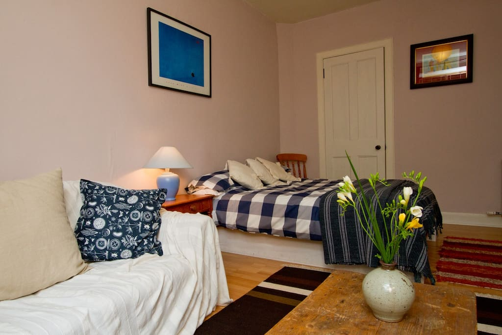Private Bedroom with comfortable double bed and walk-in wardrobe