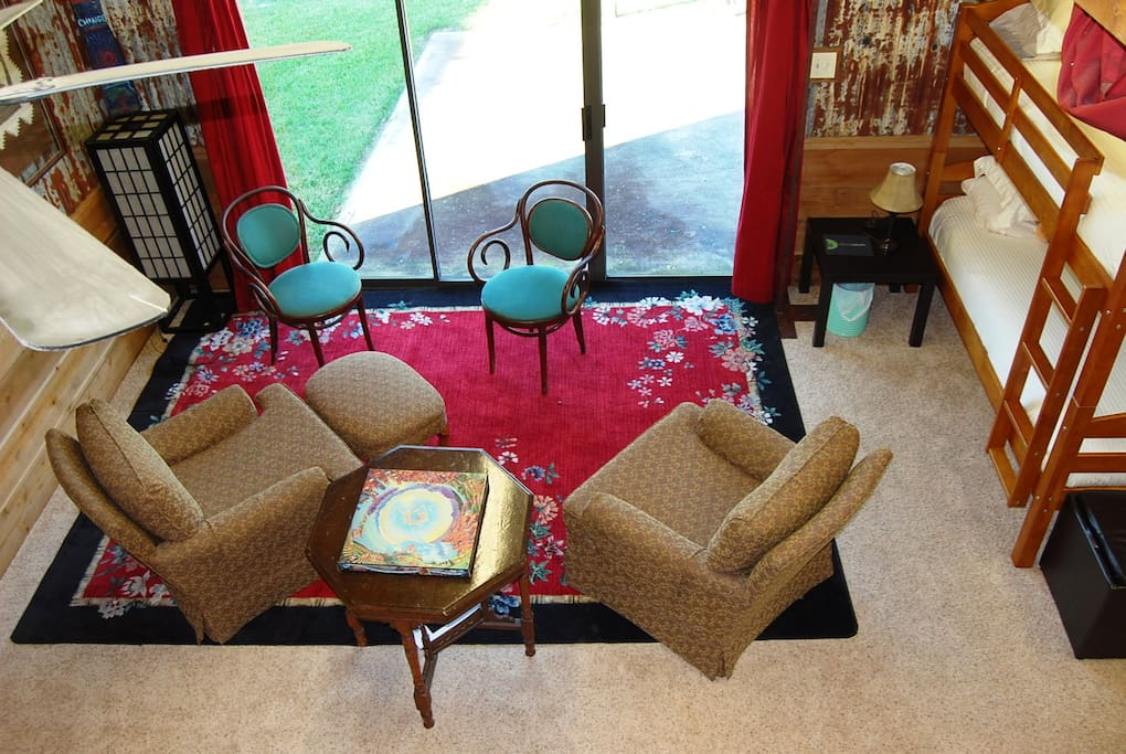 Peaceful reading area in the dorm with view of pasture.
