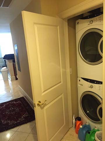 Front loading washer and dryer at apt. entry.