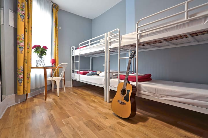 Bed in the Dorm of a Stylish Hostel
