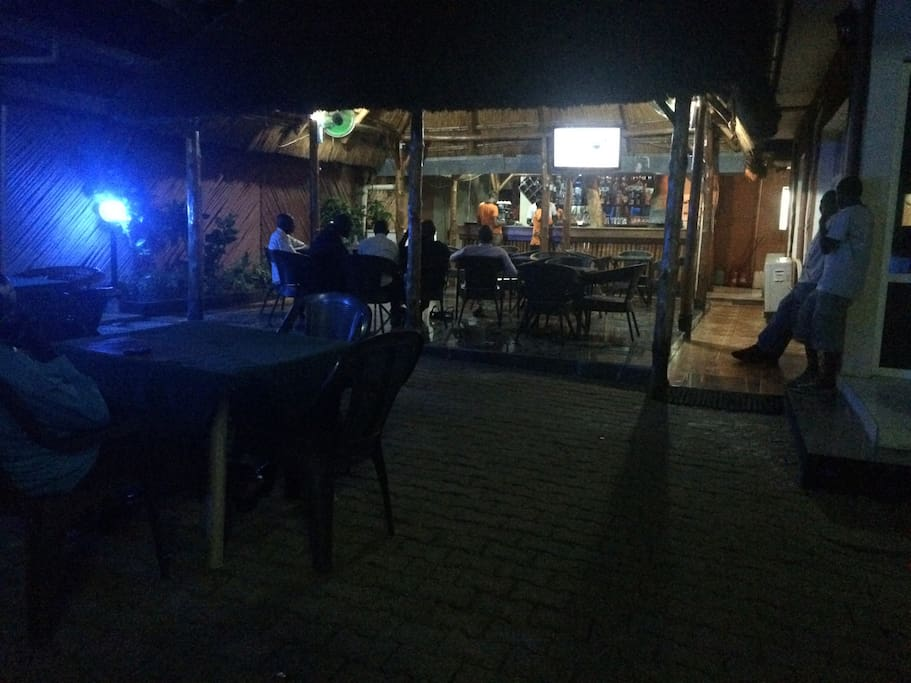 Here you see the bar and outdoors restaurant, where patrons hold lively discussions, catch up on the TV news or share enthusiasm for a sporting event.
