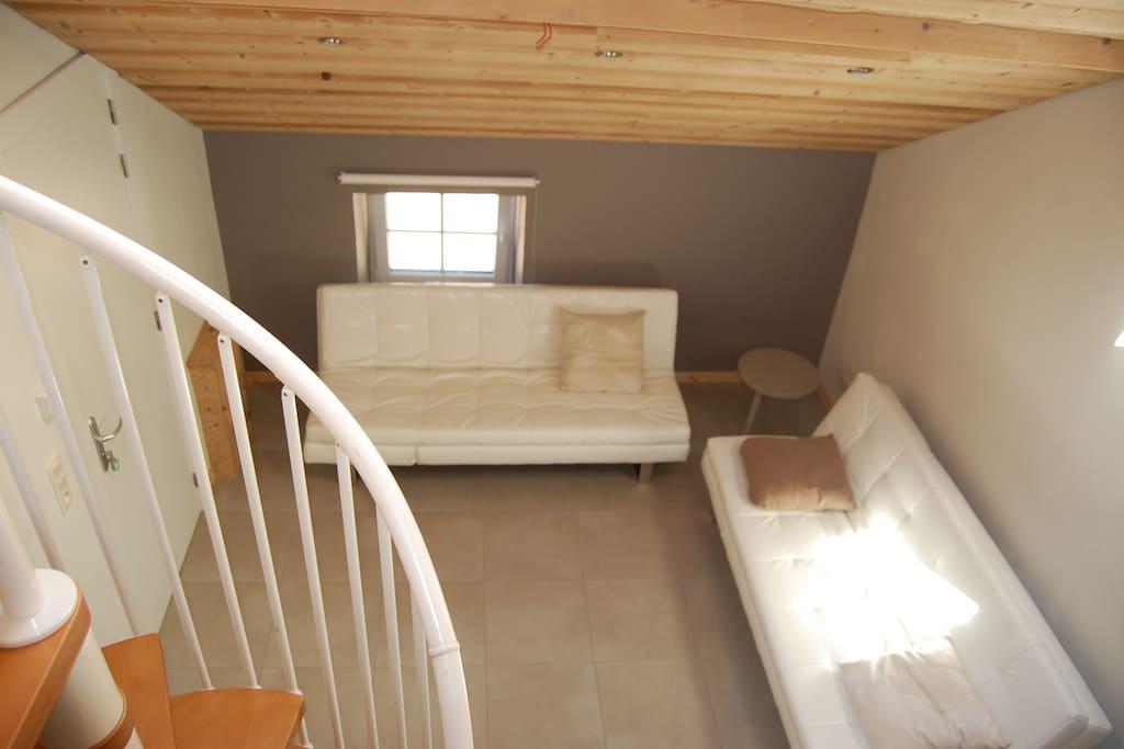 Dans le living, se trouvent 2 confortables canapés-lits.